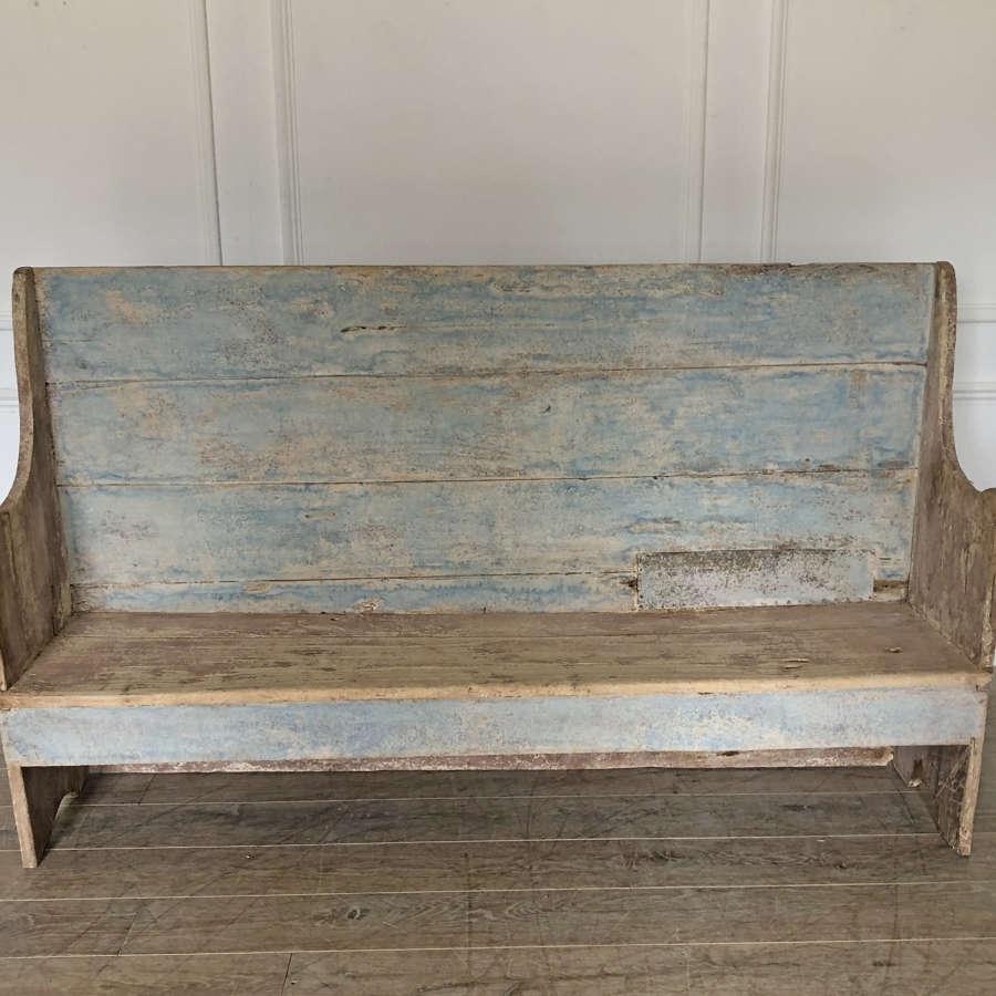 French 18th c primitive Blue Bench - circa 1750