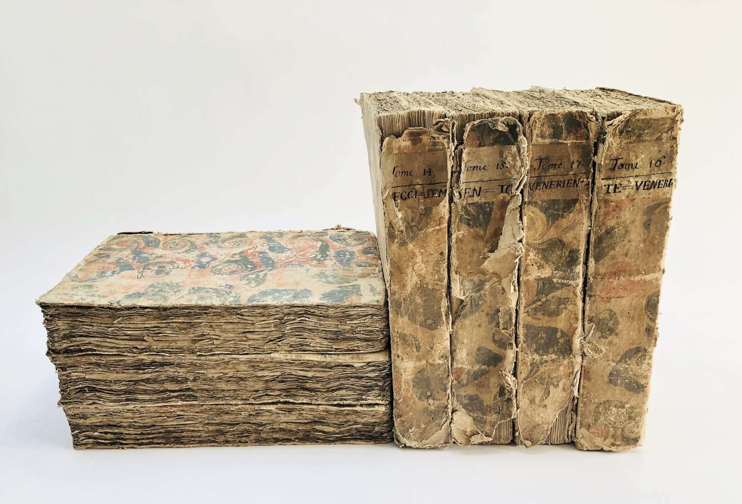 A rare and huge set of 7 French 18th c Books - printed 1765