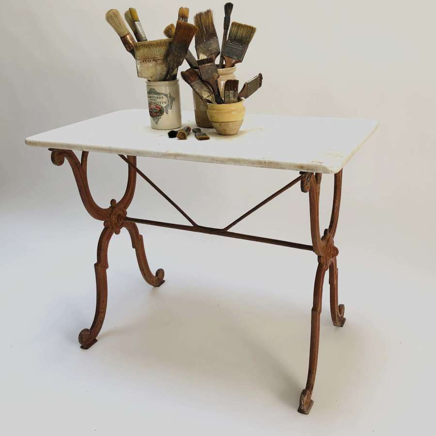 French Cast Iron Table with Original Marble top - circa 1900