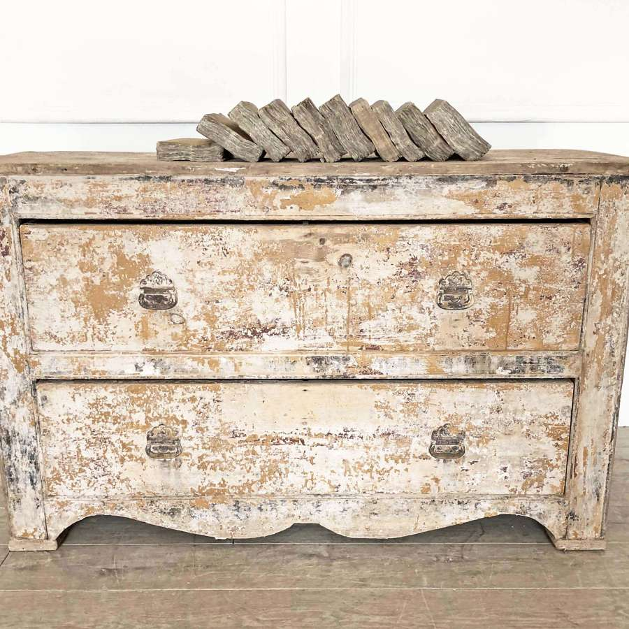 18th c French Commode with old yellow paint - 1770