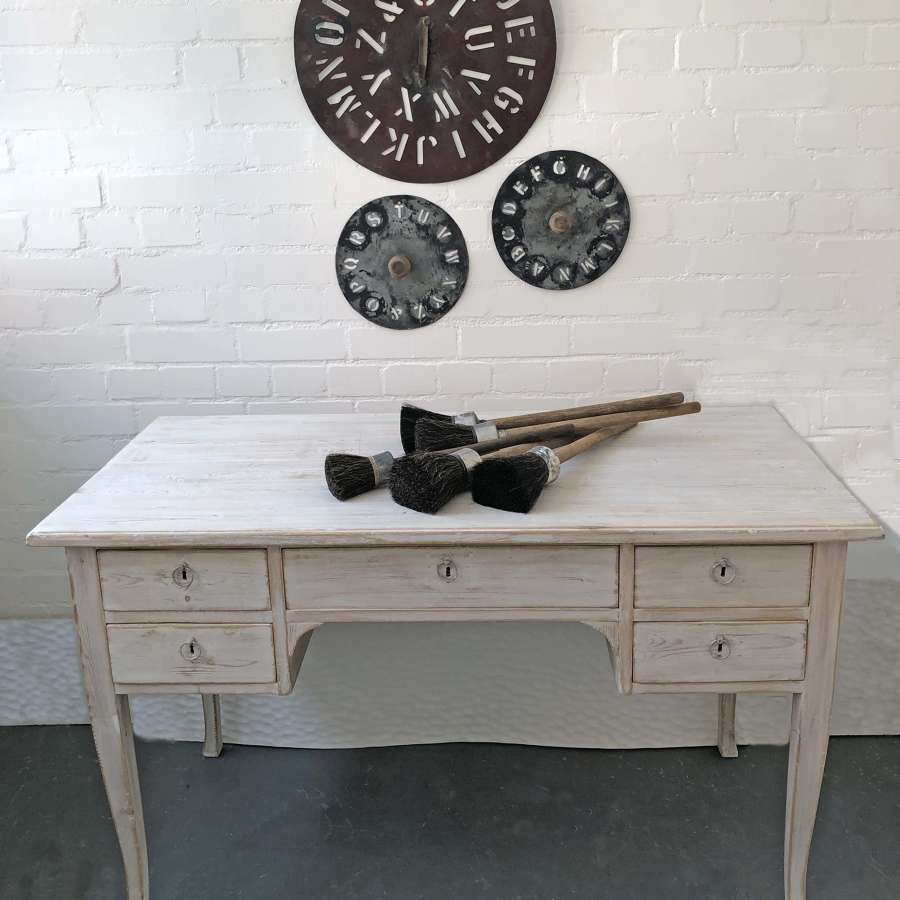 1950's Swedish Pine Desk with 5 drawers