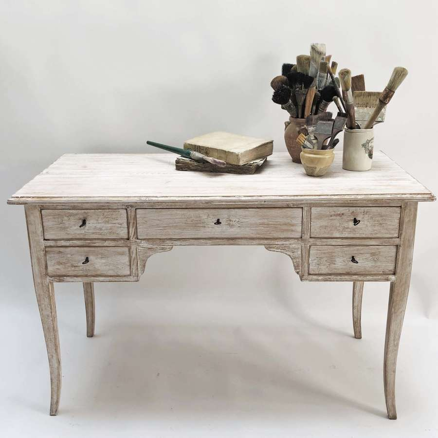 20th c Swedish Pine Desk with Lime Wash