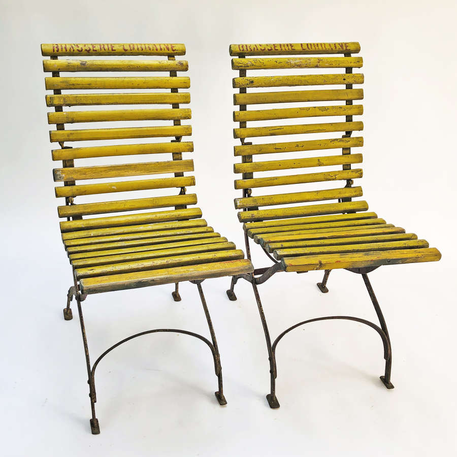 Pair of French Folding Bistro Chairs - Circa 1920