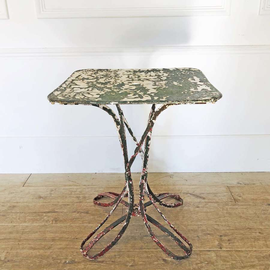 Small French Iron Cafe Table with old paint - circa 1920