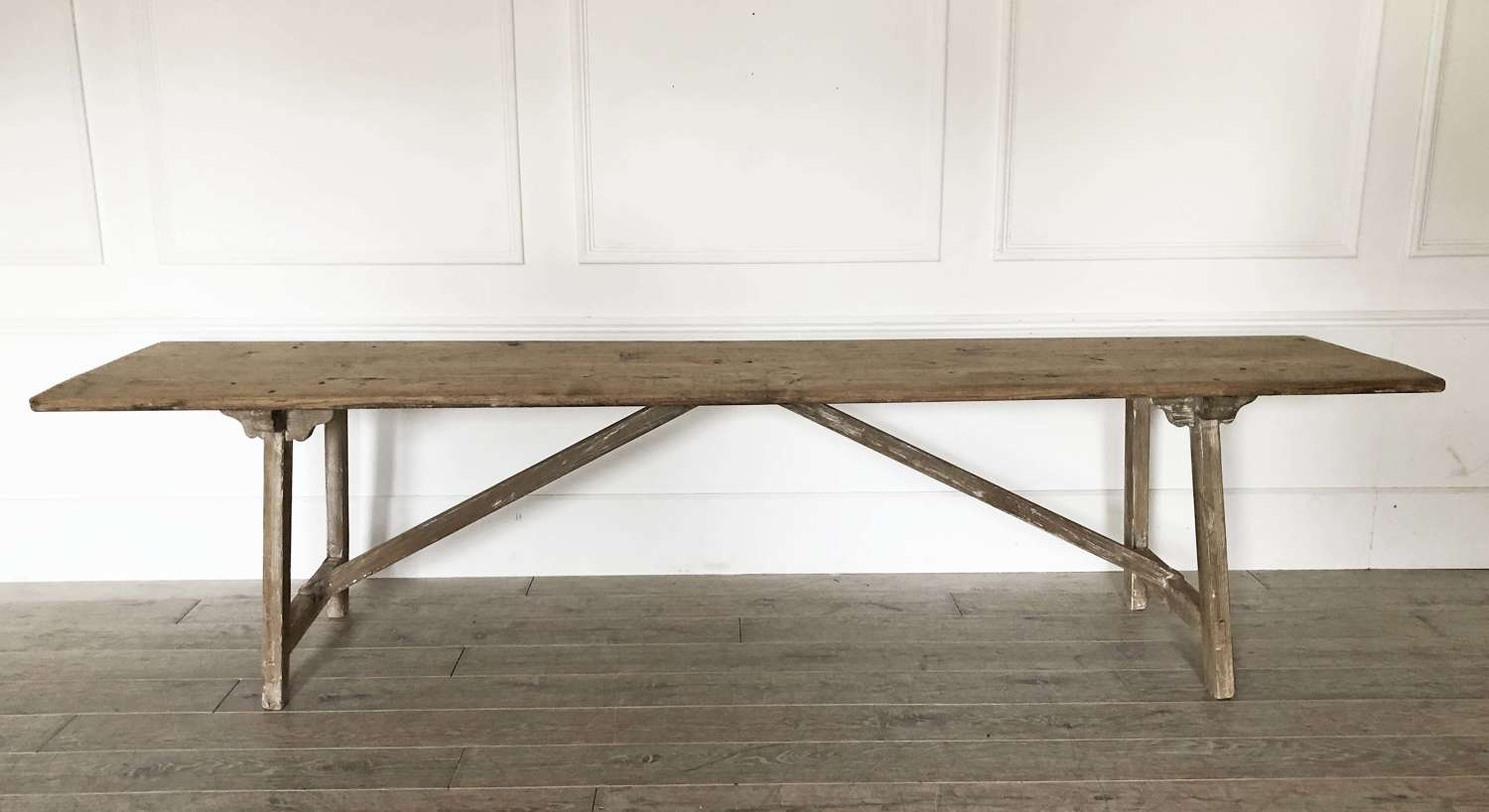 Long and narrow 19th century Pine Trestle Style Table - circa 1870
