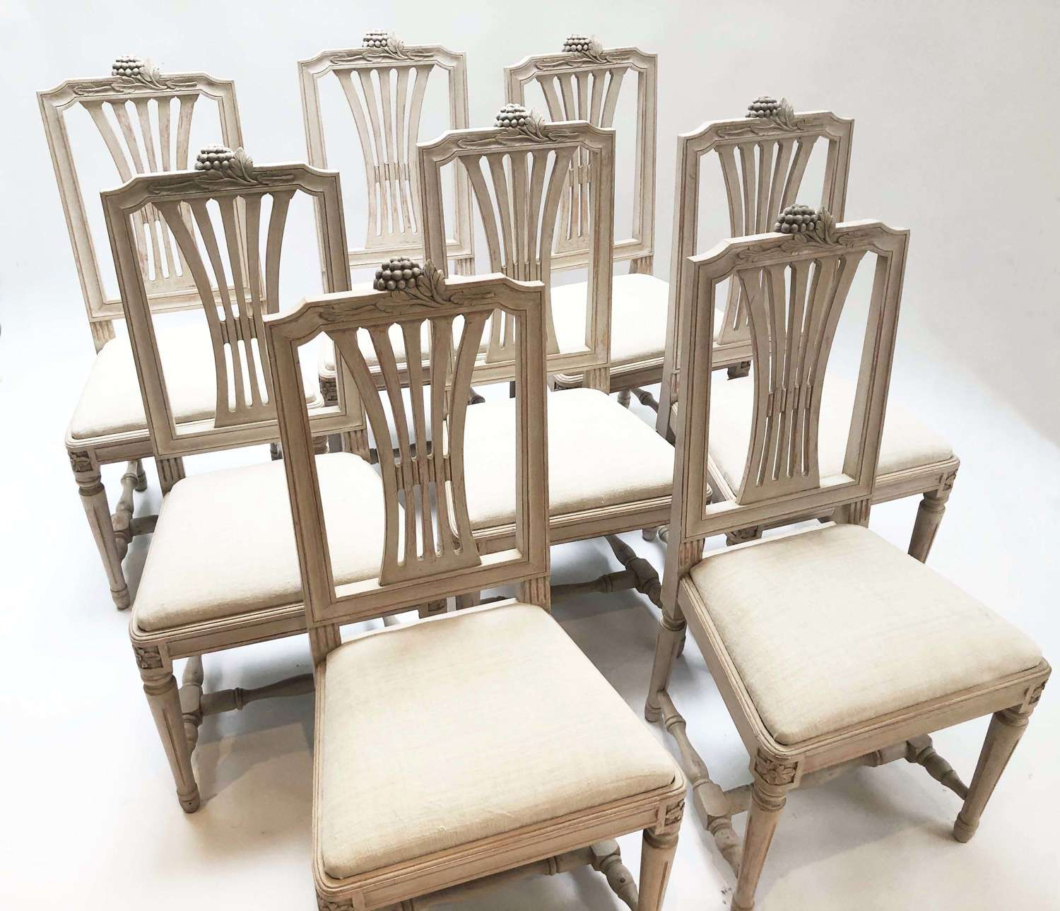 Set of 8 early 20th c Swedish Dining Chairs