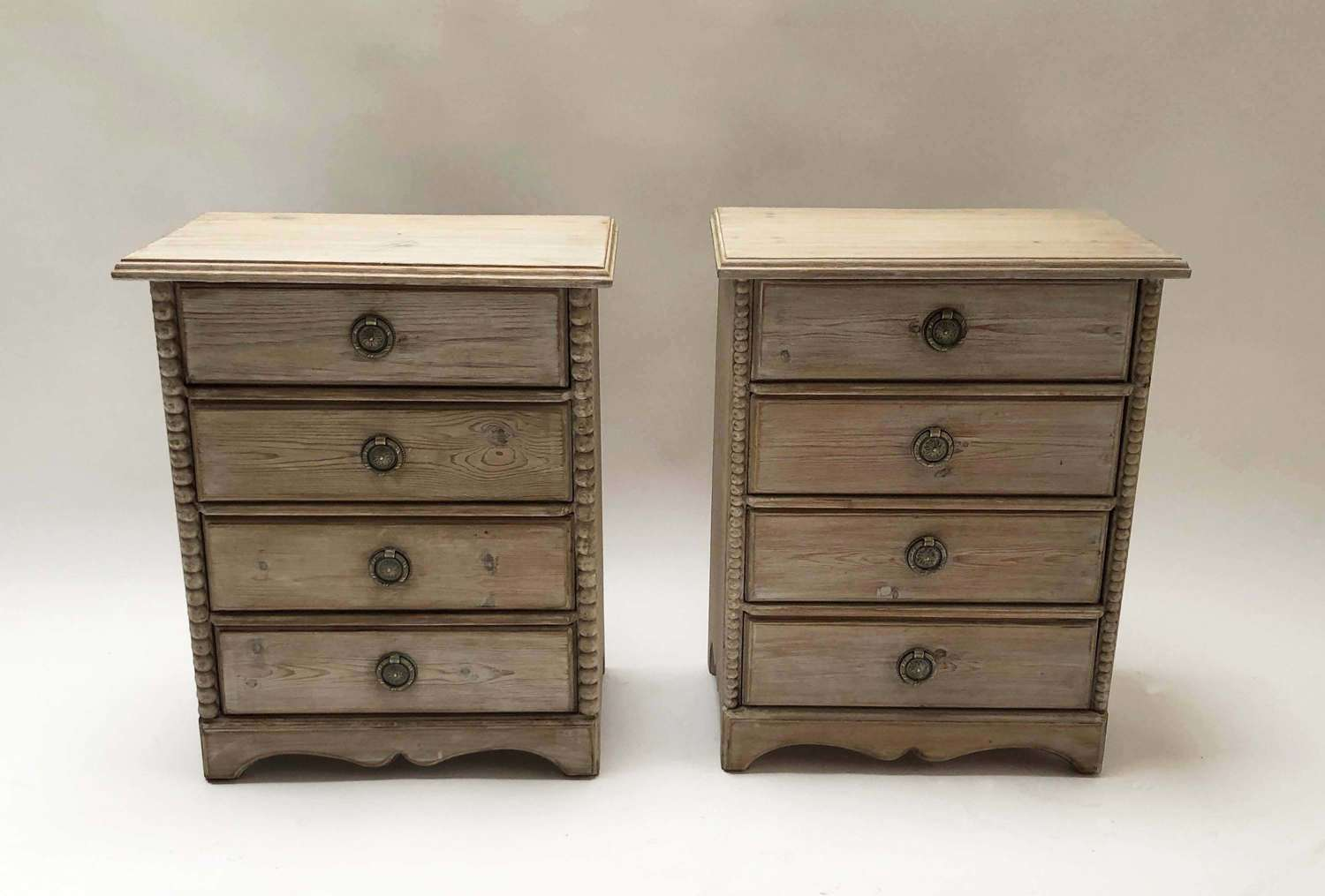 Pair Swedish Pine Bedside Tables with drawers.