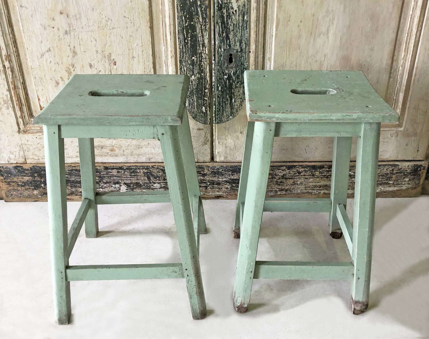 Pair of French painted green Stools - Circa 1920