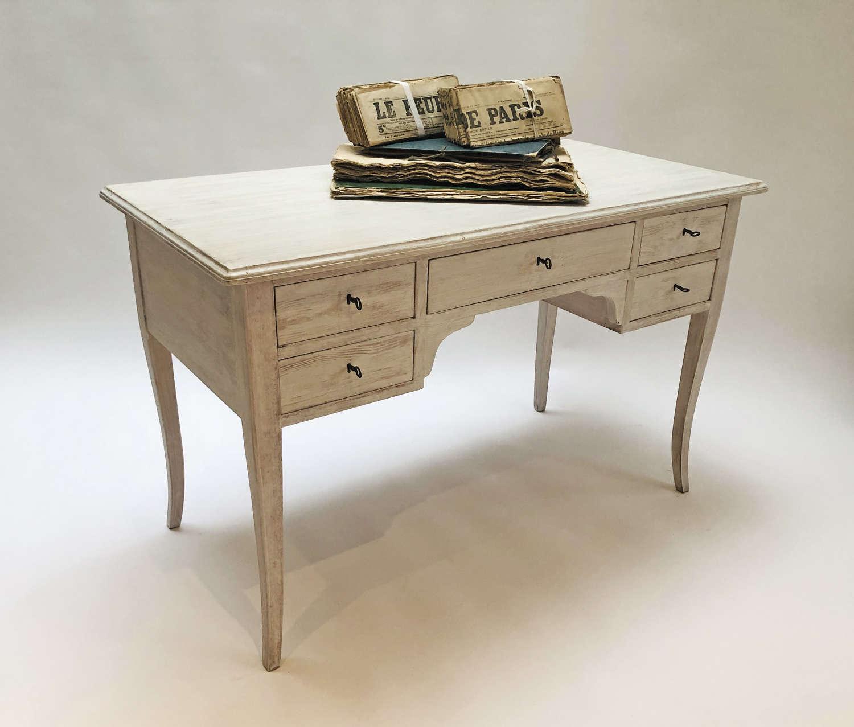 20th c Swedish Desk - limewashed finish - circa 1950