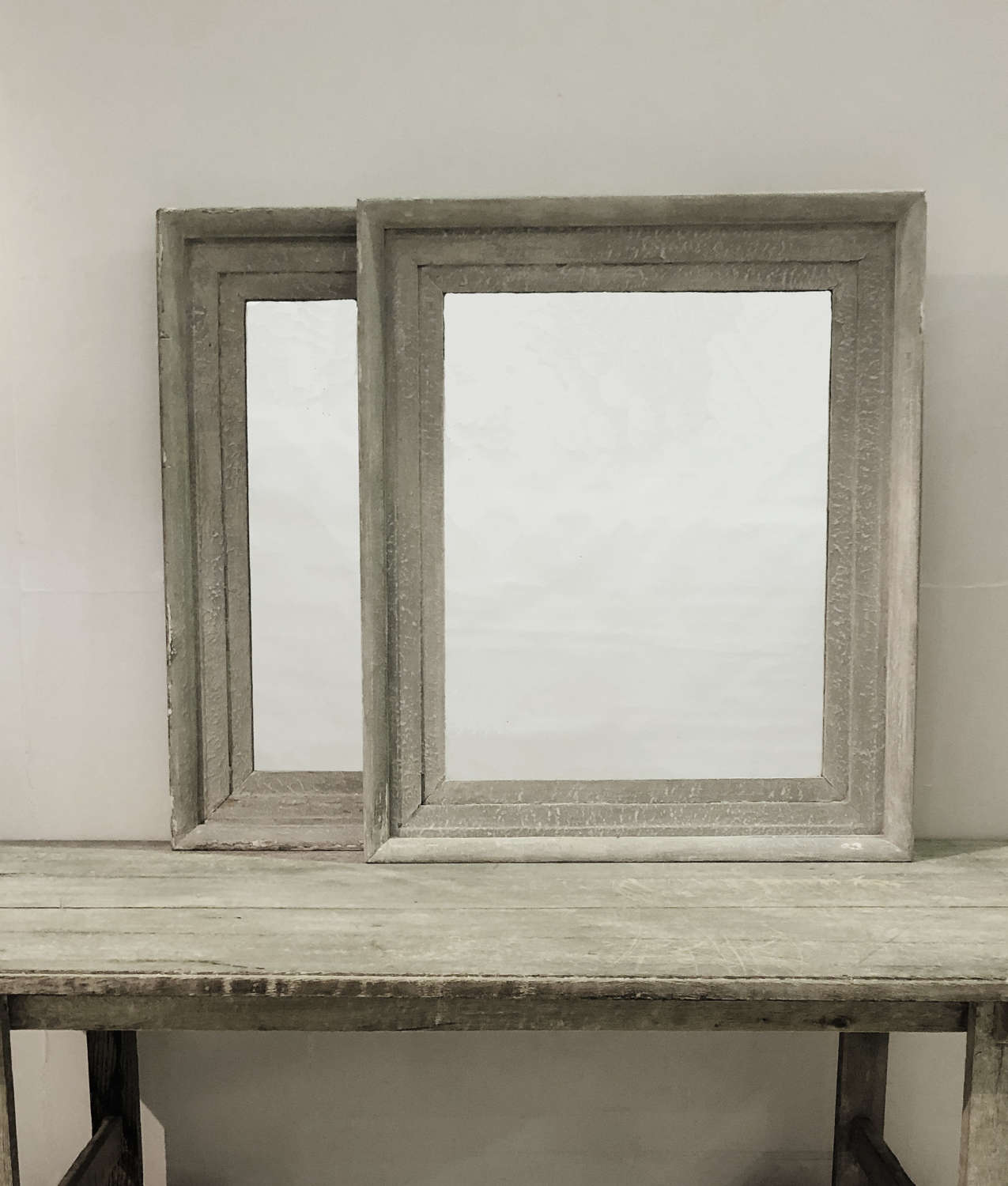 Pair 19th c French Grey Mirrors - circa 1850