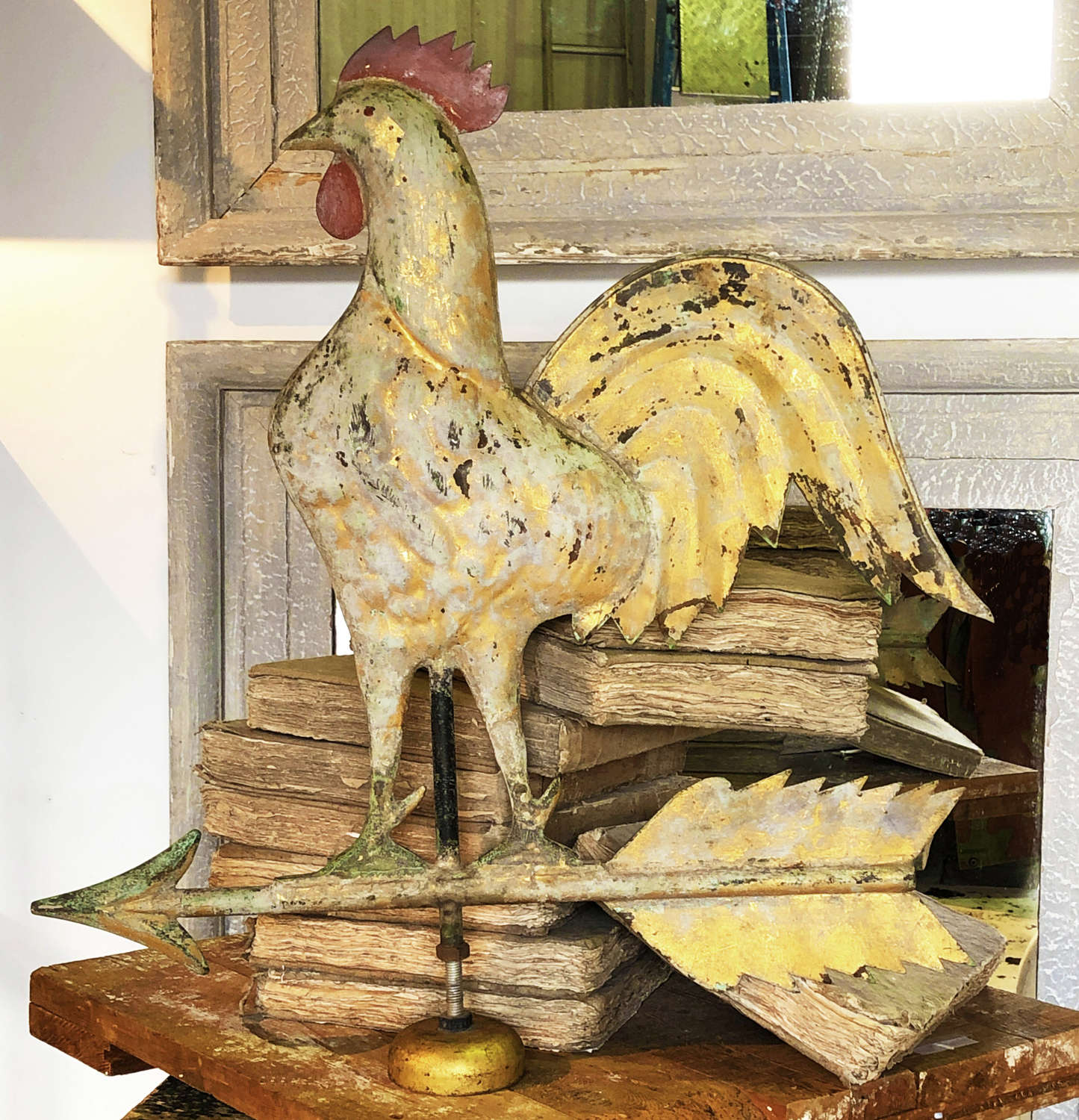 19th c French Gilded Zinc Cockerel Wind Vane - circa 1880