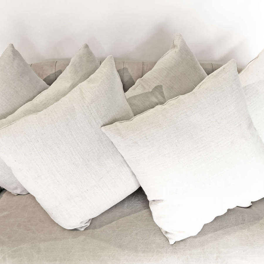 Large 19th c Antique Linen Cushions with new inserts. Circa 1880