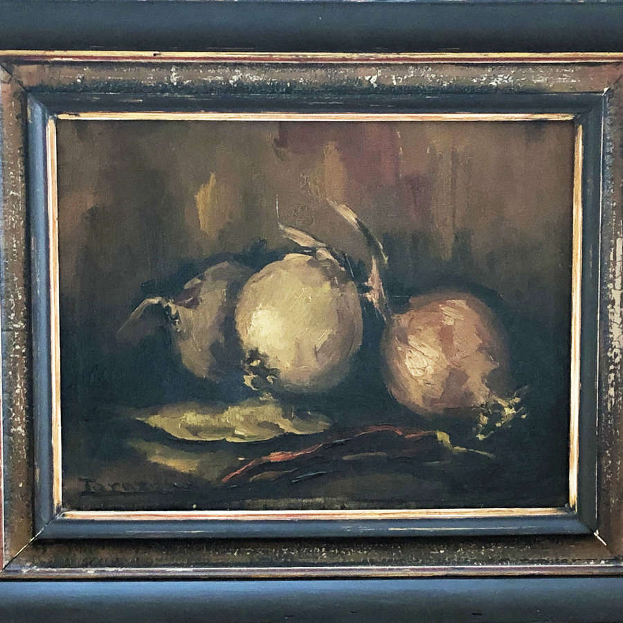 Still Life Oil Painting of Onions - Circa 1900