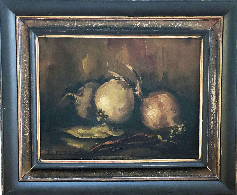 Still Life Oil Painting of Onions - Circa 1900