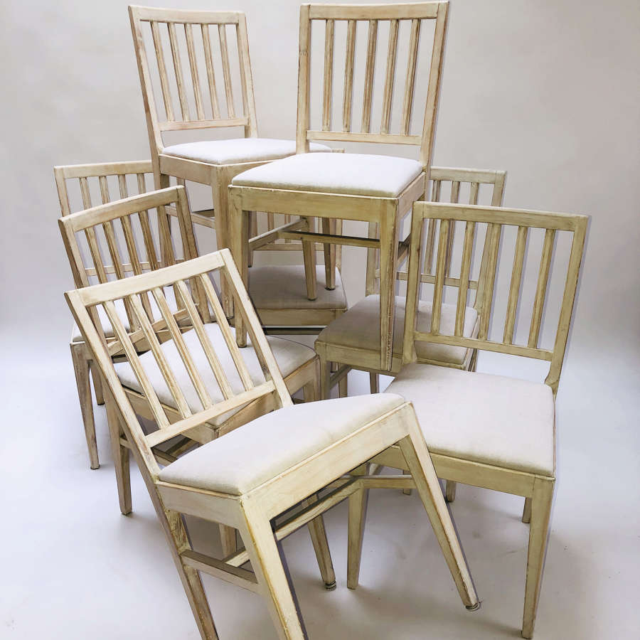 Set of 8 Swedish 20th c Slat-Back Chairs - circa 1920