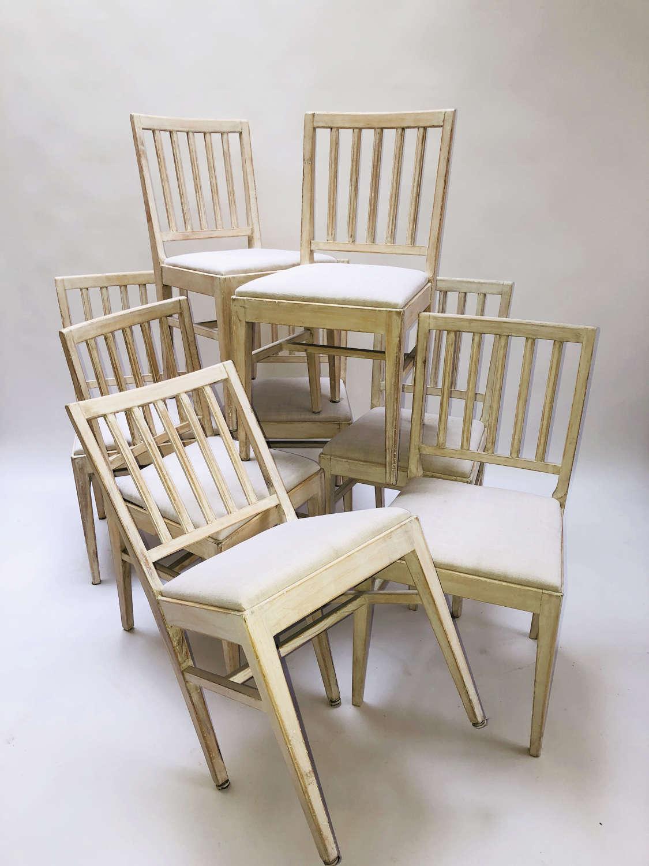 Set of 8 Swedish 20th c Slat-Back Chairs - circa 1920