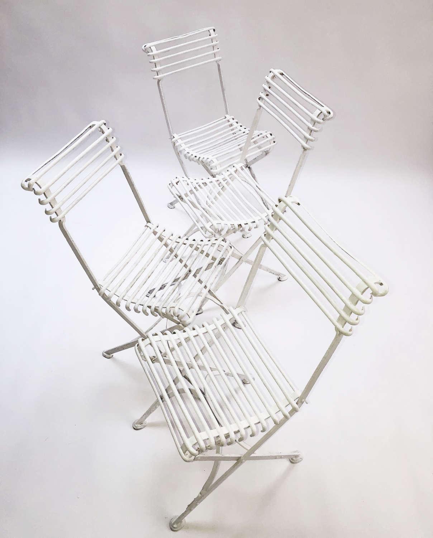 Set of 4 folding Iron 'Arras' Chairs - circa 1900
