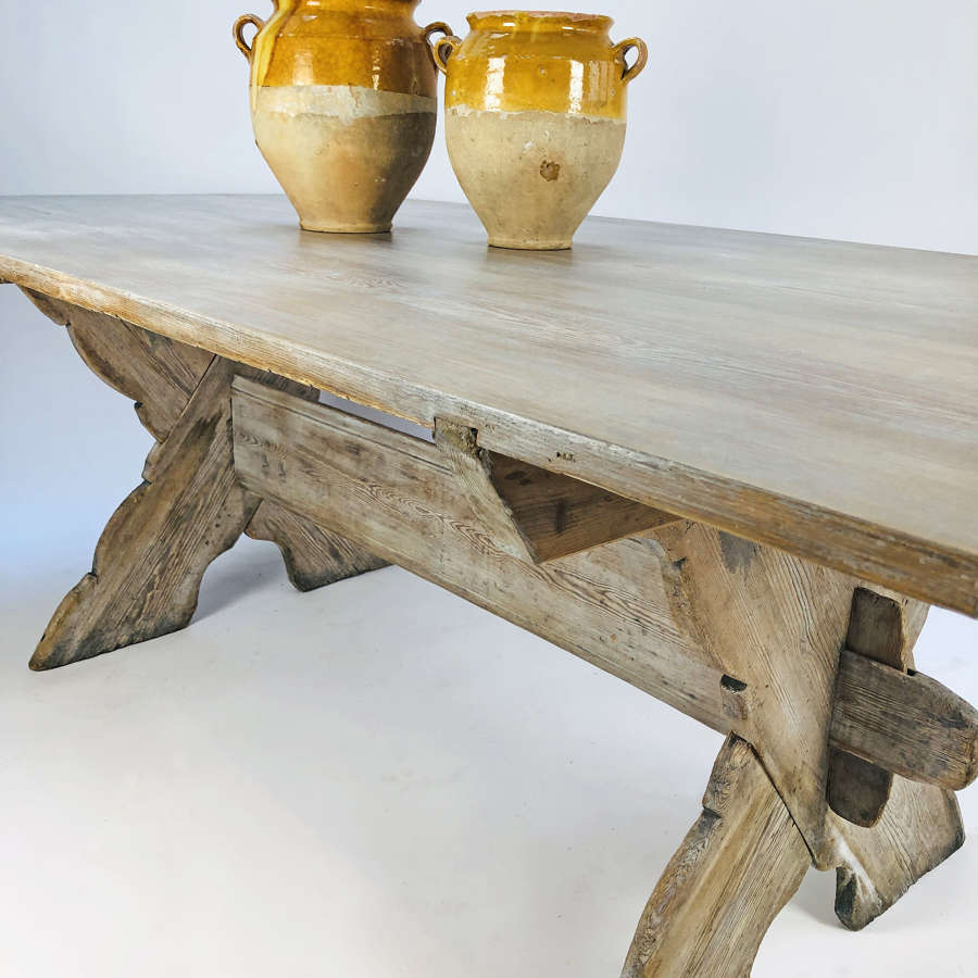 19th c Swedish X-frame pine Dining Table - circa 1850