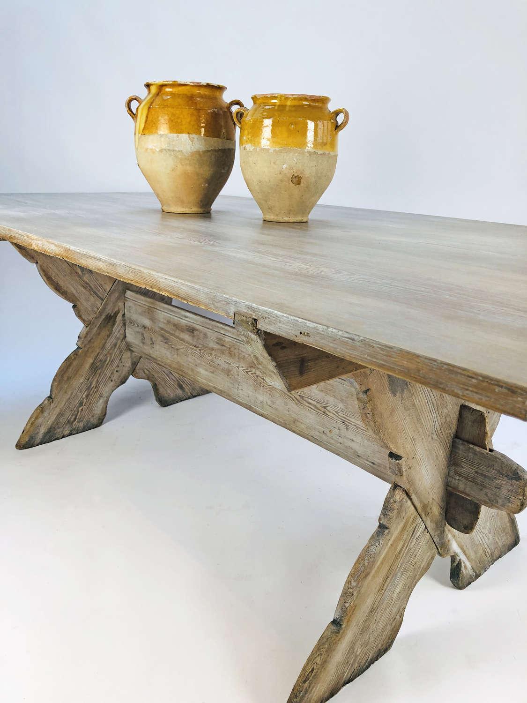 19th c Swedish X-frame pine Dining Table - circa 1850