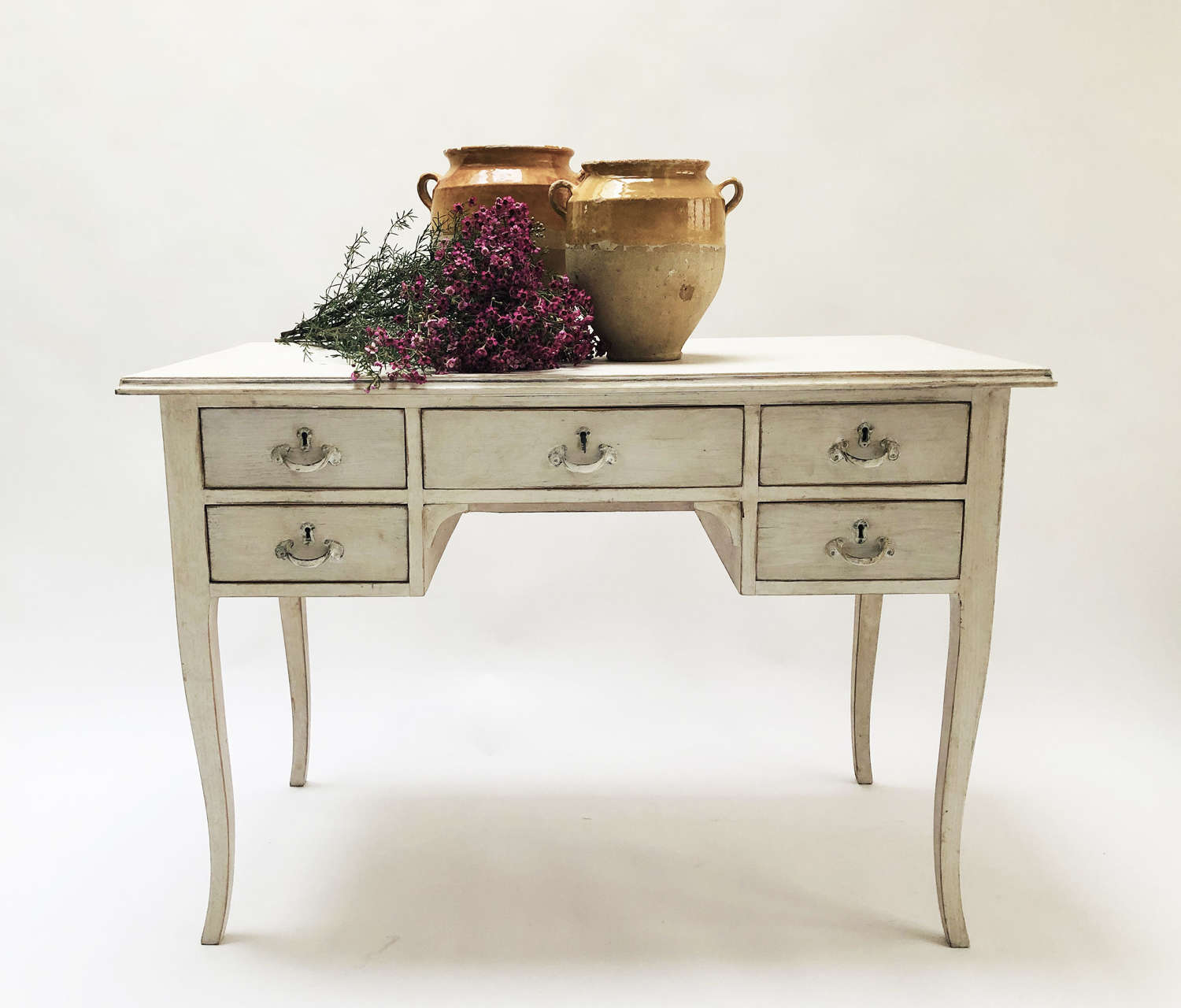 Swedish 20th c Desk with lime-wash finish - Circa 1950