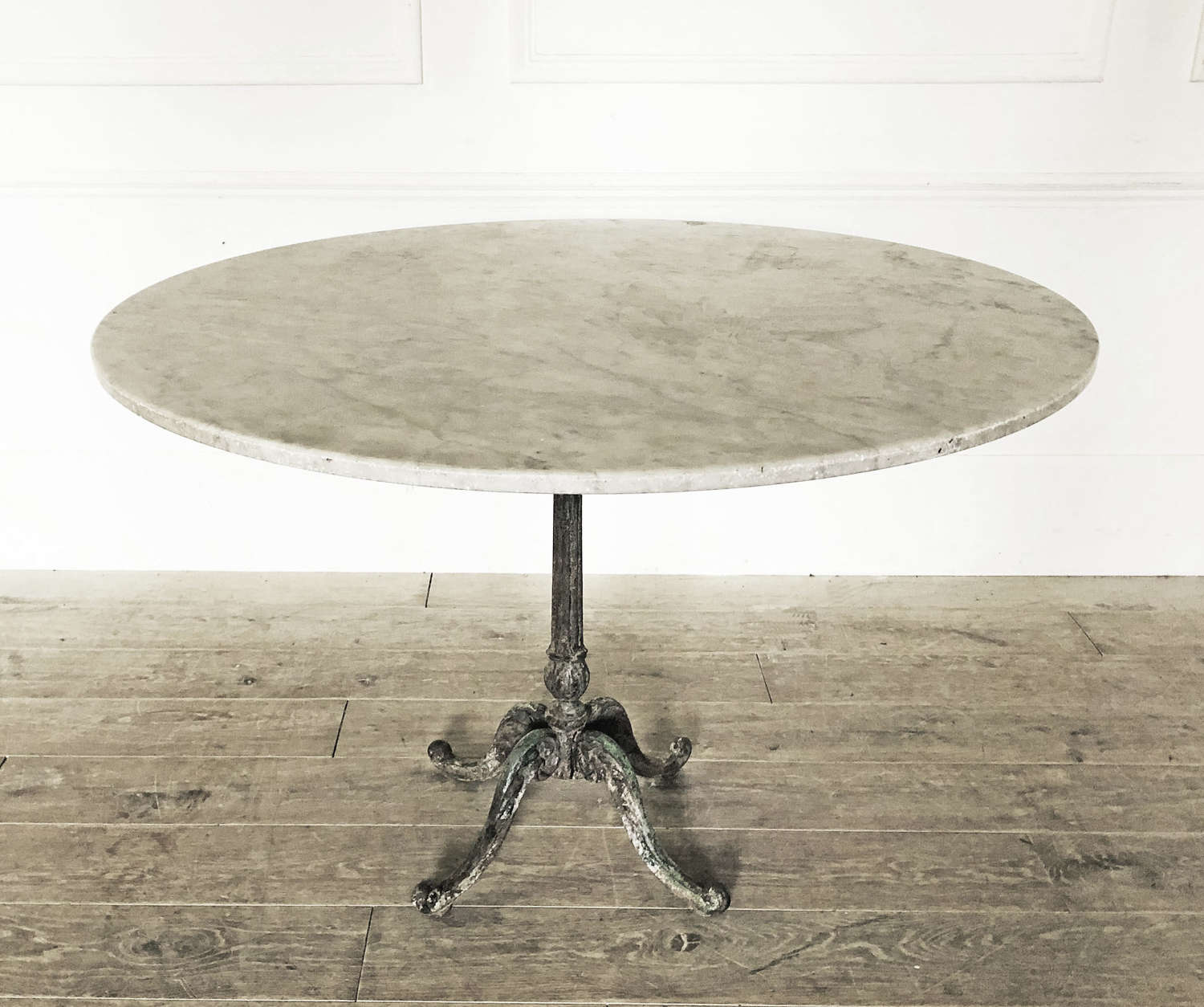 Large 19th c French Cast Iron Table with Round Marble Top - circa 1880