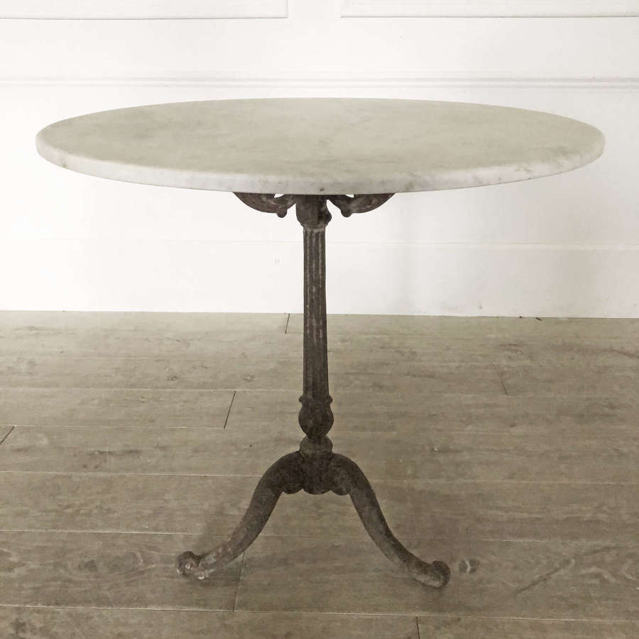 Medium 19th c French Cast Iron Table with Round Marble top - c 1880