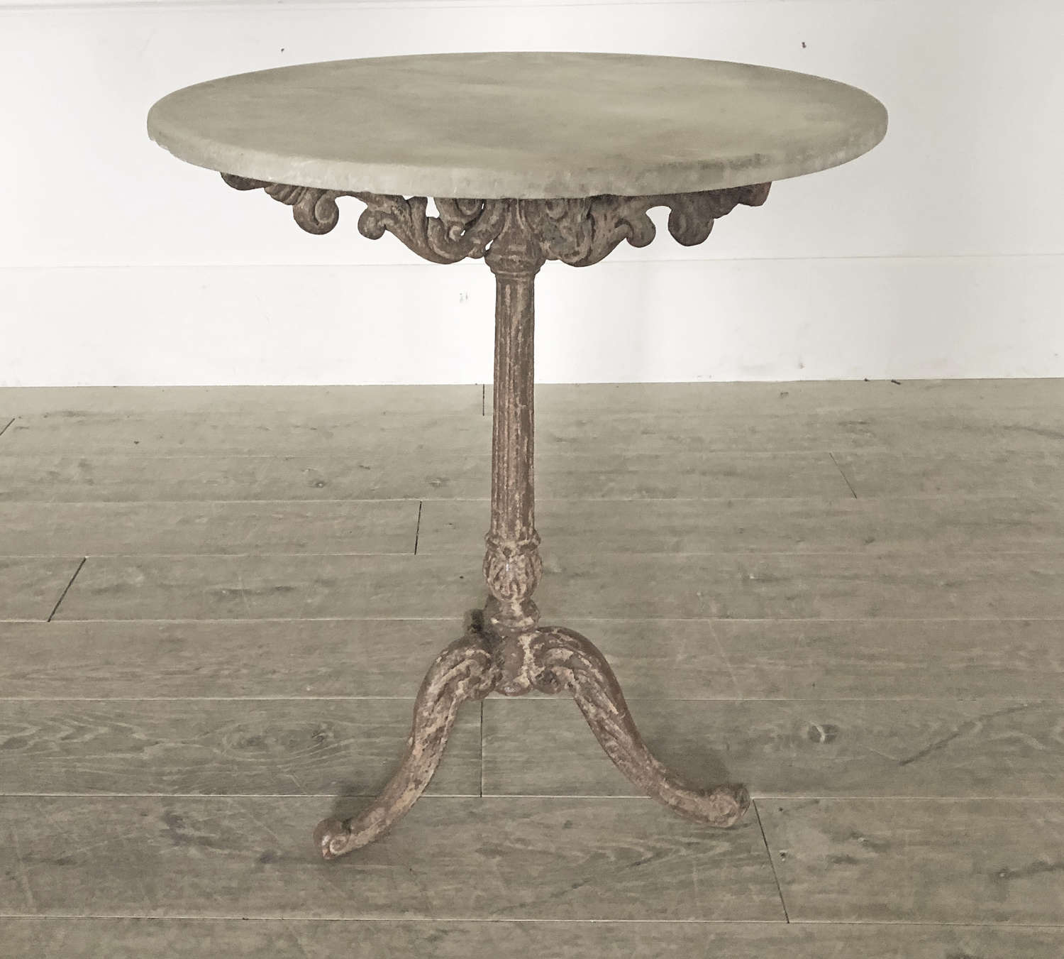 Small 19th c French Cast Iron Table with Round Marble Top - circa 1880