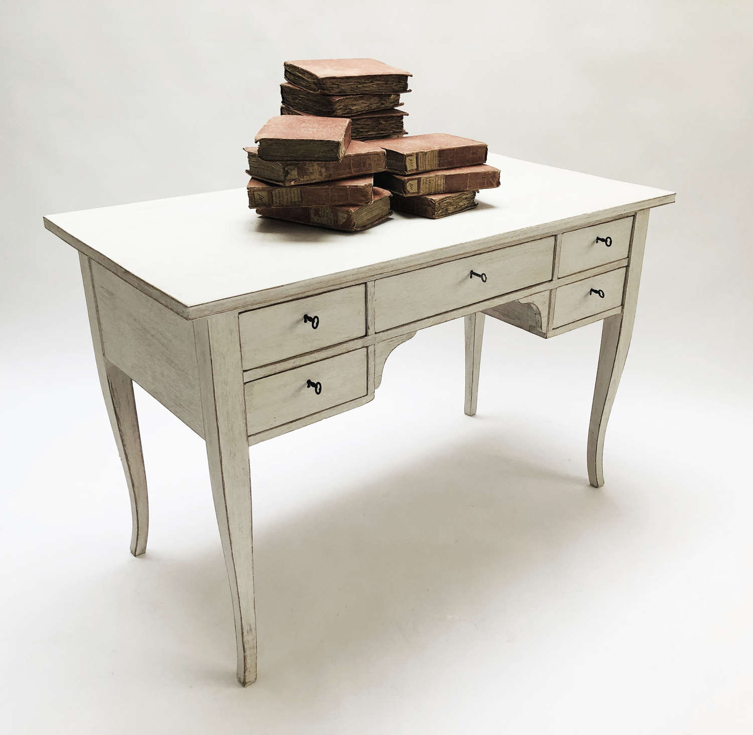 Swedish Desk with 5 drawers and limewash finish circa 1950
