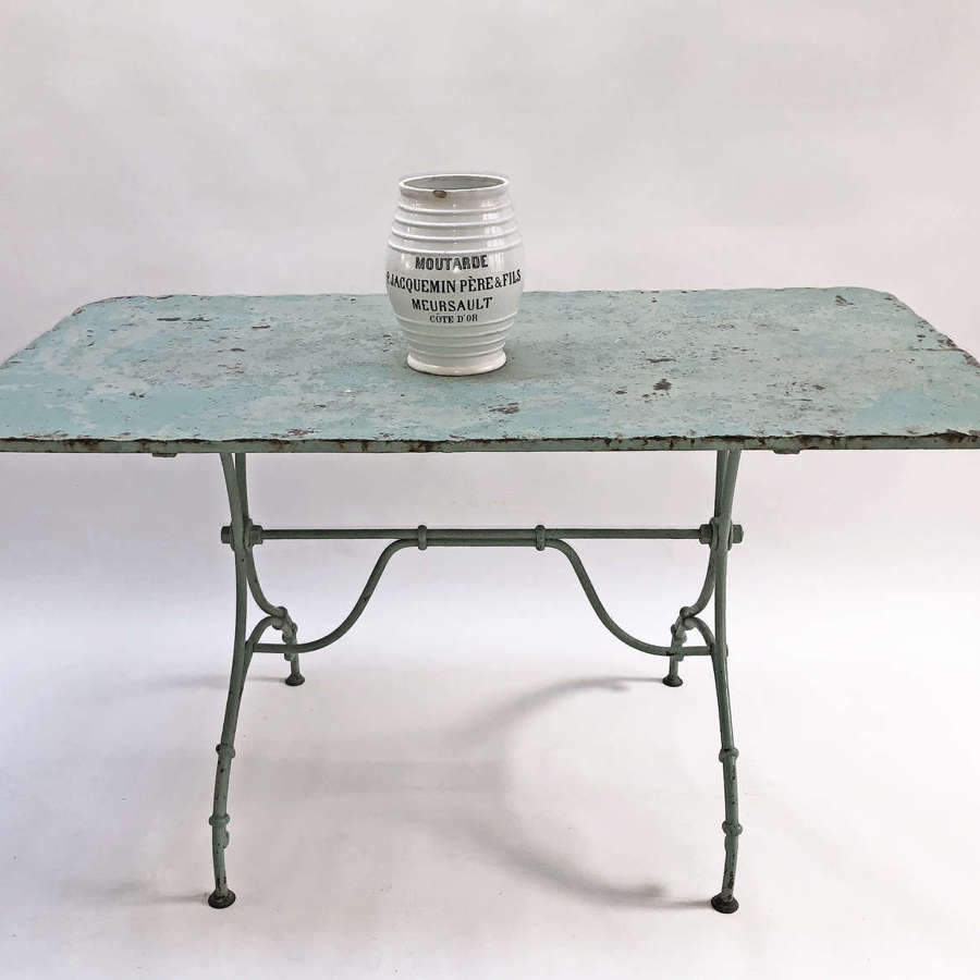 French Iron Table with wonderful old green paint - circa 1920