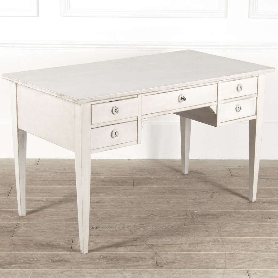 Large Swedish Desk with 5 drawers - white limewash finish - circa 1930