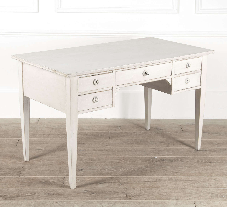 Large Swedish Desk with 5 drawers - white limewash finish - circa 1930