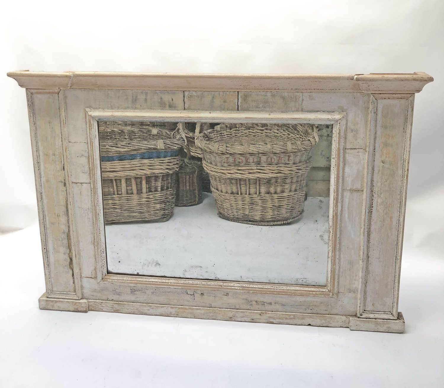 French 18th c wide Trumeau Mirror with original paint - circa 1750