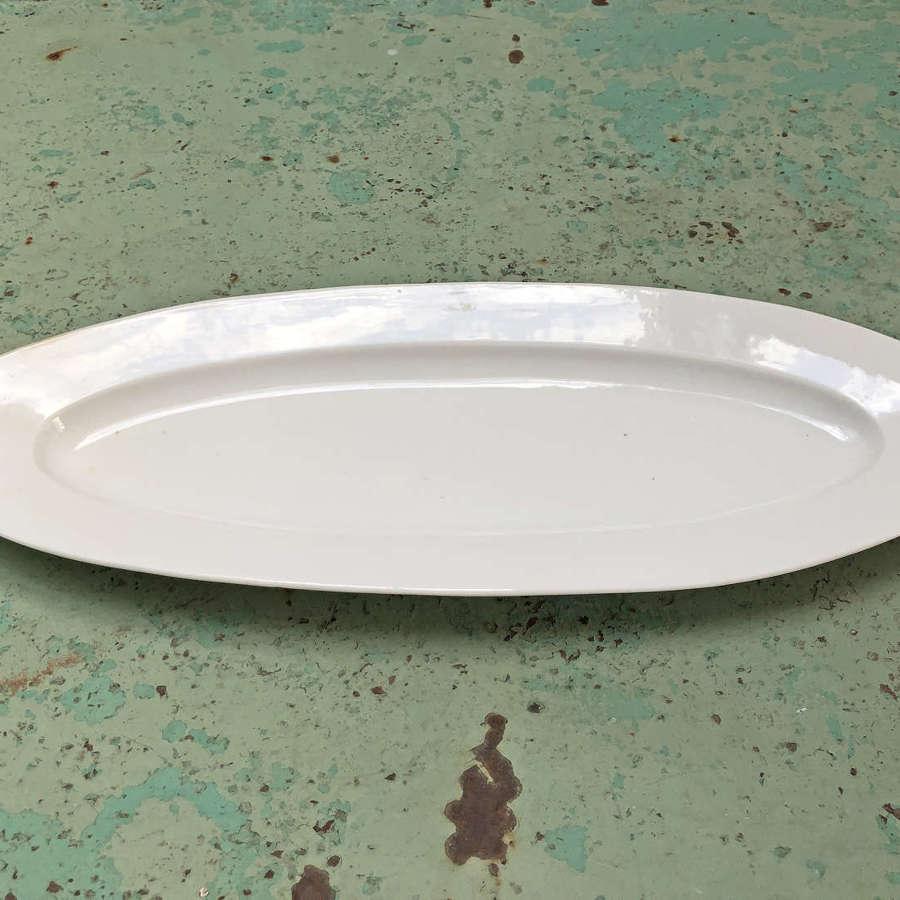 19th c French Porcelaine de Paris heavy white Fish Servery Plate