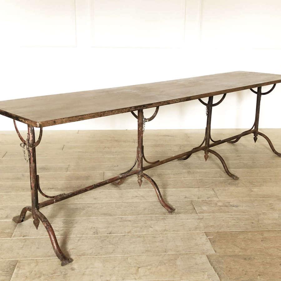 Long Italian 19th c Iron Table with Flip-Top - circa 1880