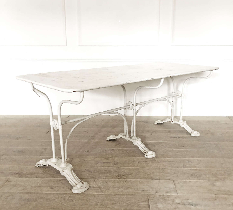 White Cast Iron French Garden Table - circa 1920