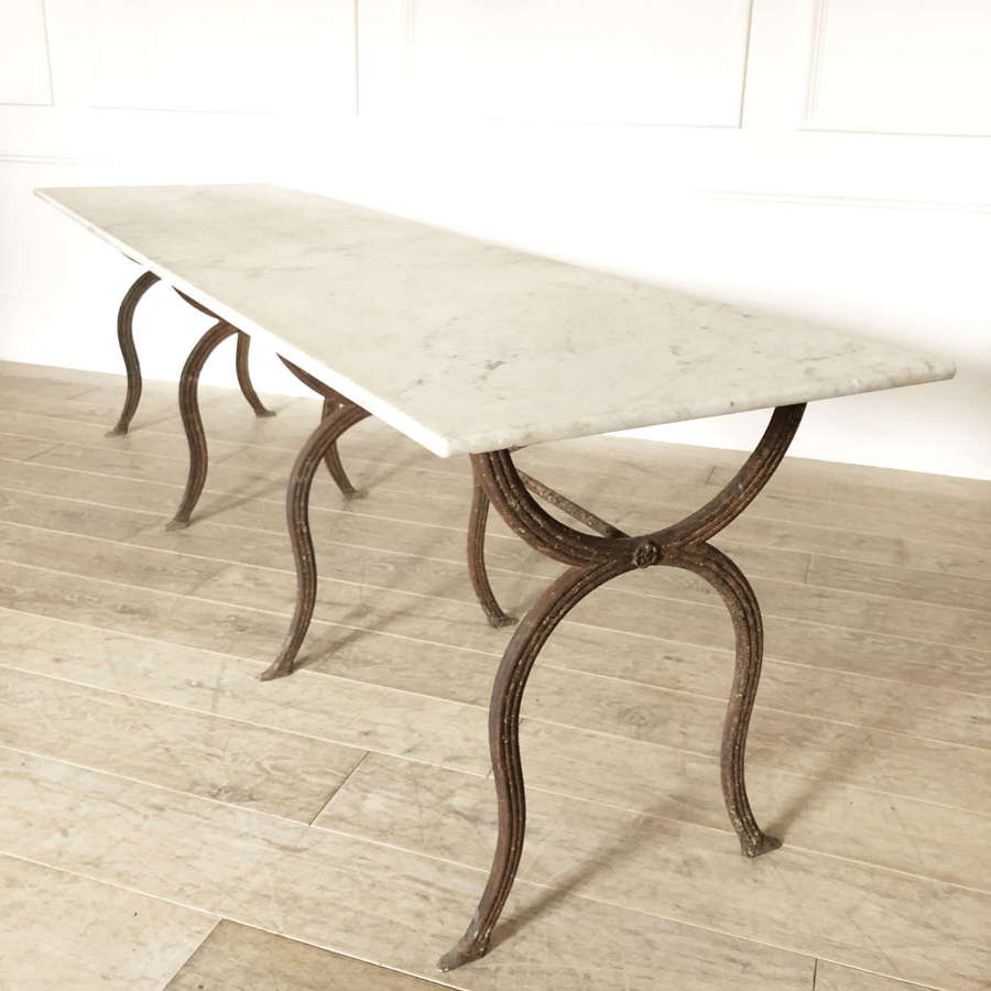 French Cast Iron Table with Carrara Marble top - Circa 1880