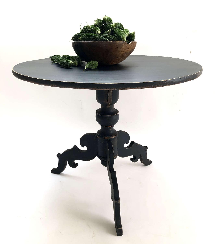 19th c Swedish  Black 'Flip-Top' Round Side Table - Circa 1830