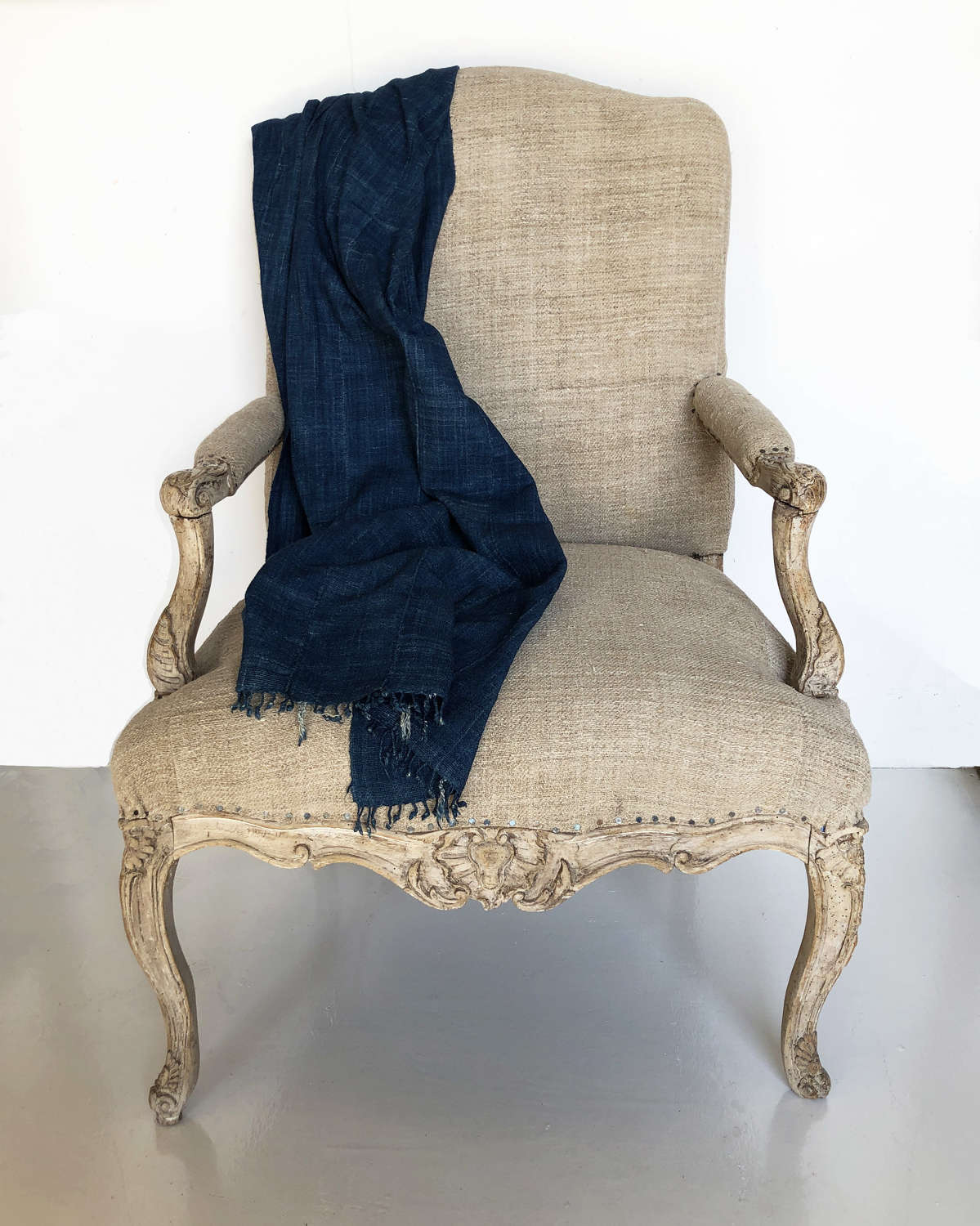 18th c Louis XV Fauteuil with antique hemp upholstery - circa 1720