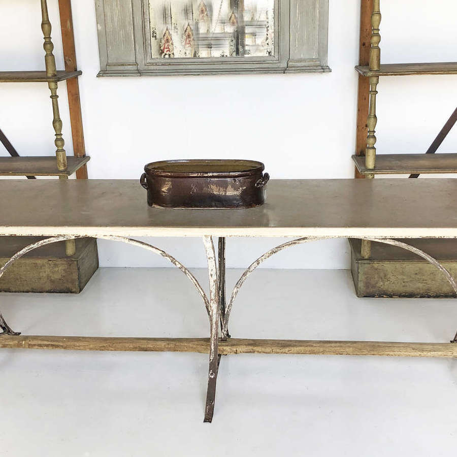 Long 19th c cast iron Table with a thick marble top - circa 1890