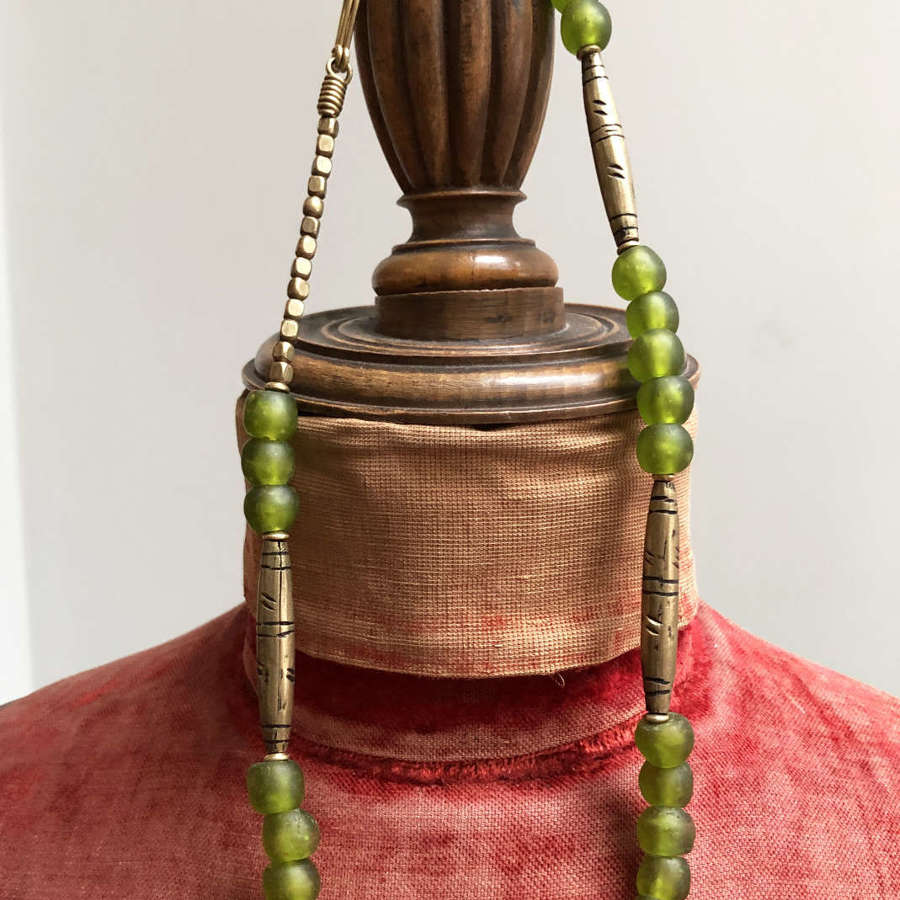 Ghanian Green Glass Bead Necklace