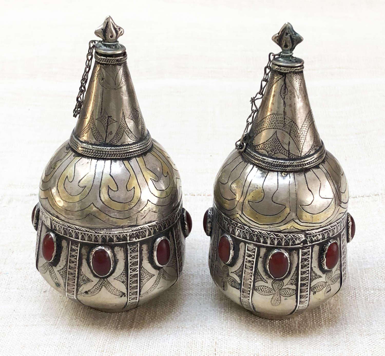 19th c Silver Turkoman Perfume Bottles