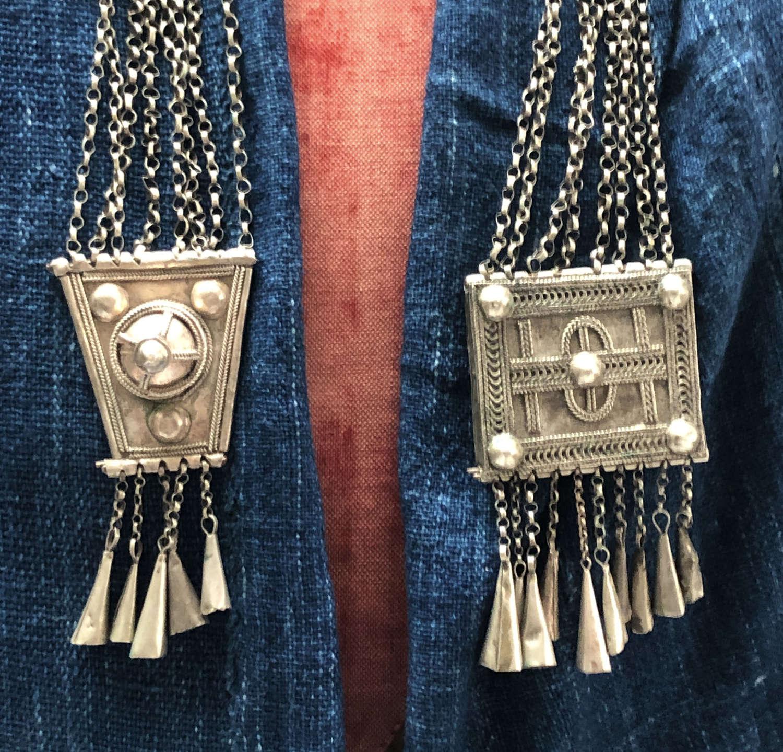Arabian decorative silvered tin 'Fibula' on chains - circa 1920