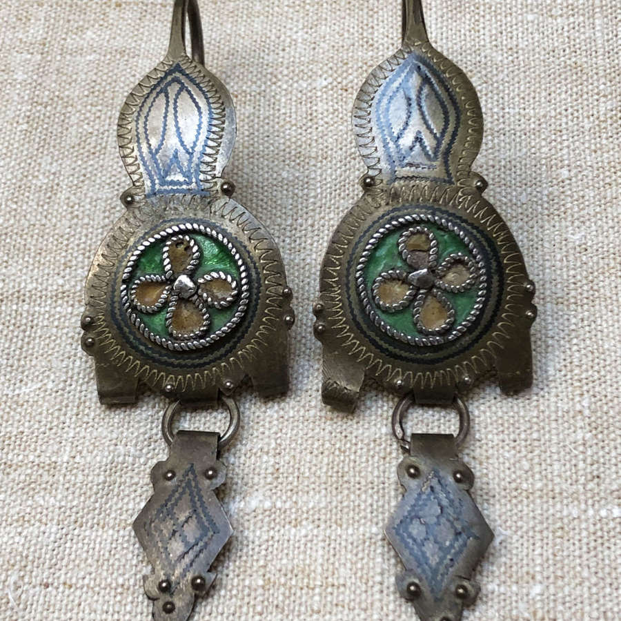 Pair of 19th c Brass etched Arabian Earrings