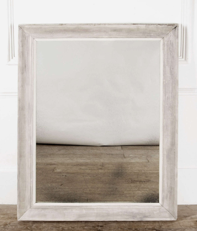 Pale Grey 19th c French Pine Mirror - Circa 1880