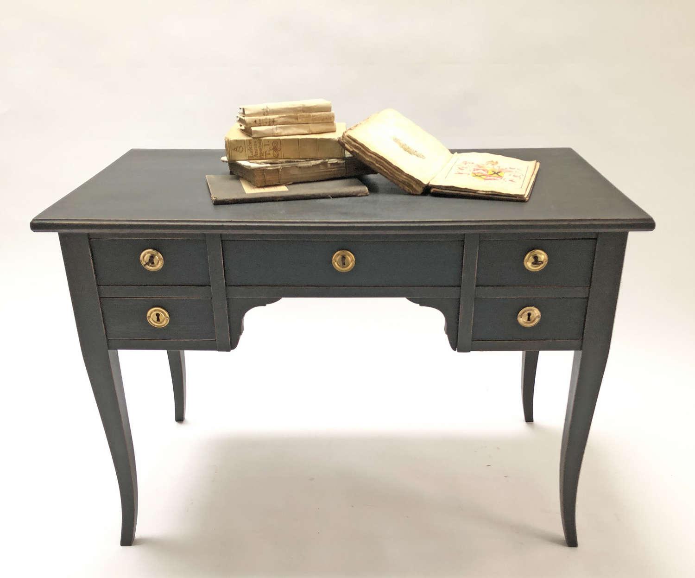 Swedish 20th c Black 5-drawer Desk - circa 1930