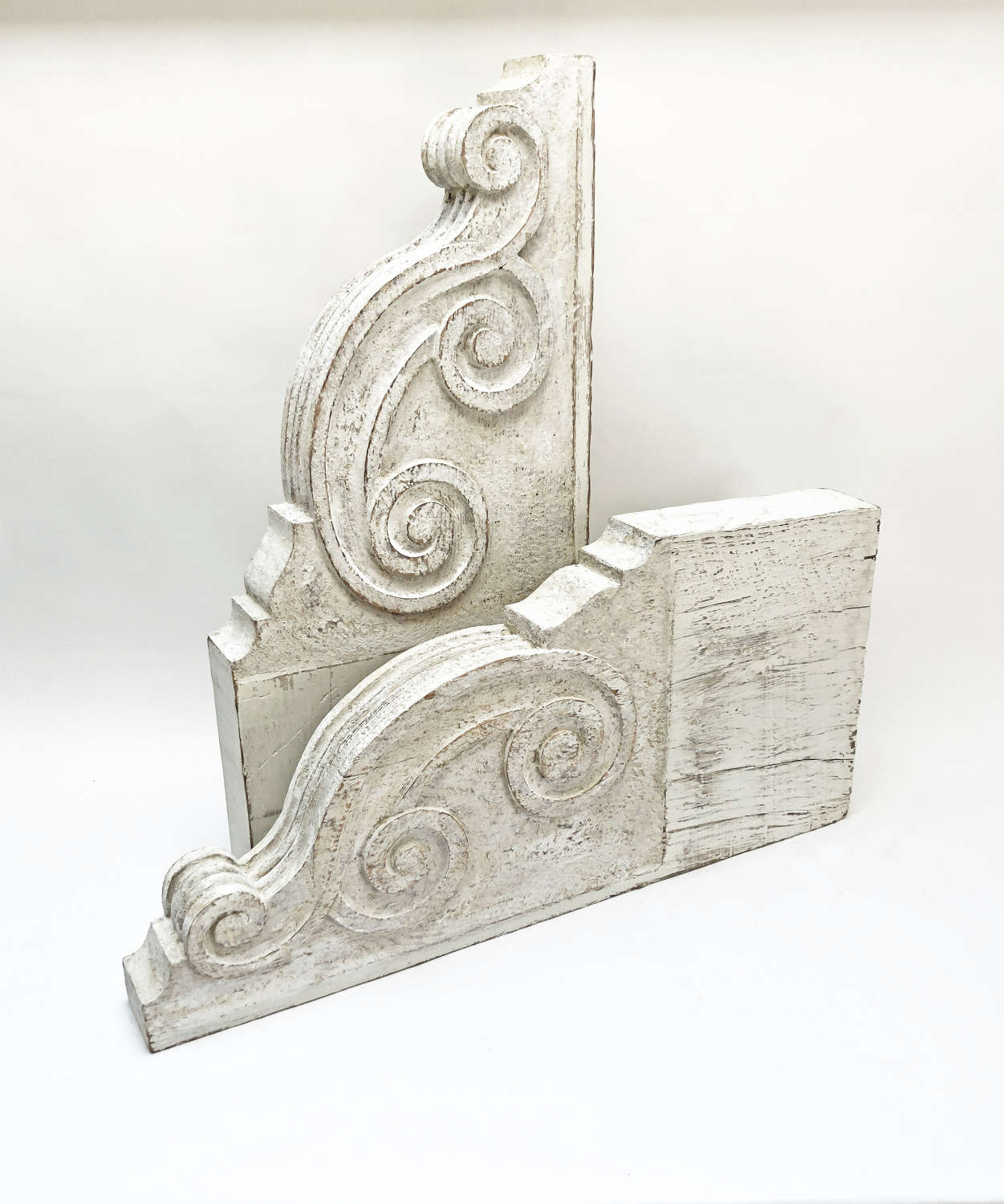 Pr. large French 19th c classical hand carved Corbels - 1880