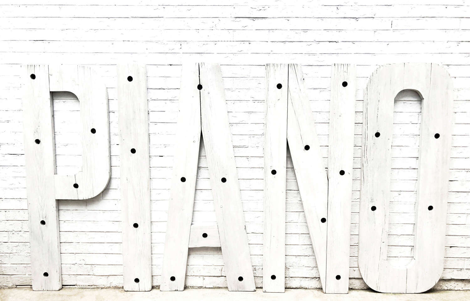 Six giant wooden Art Deco Letters from a PIANO shop - circa 1930