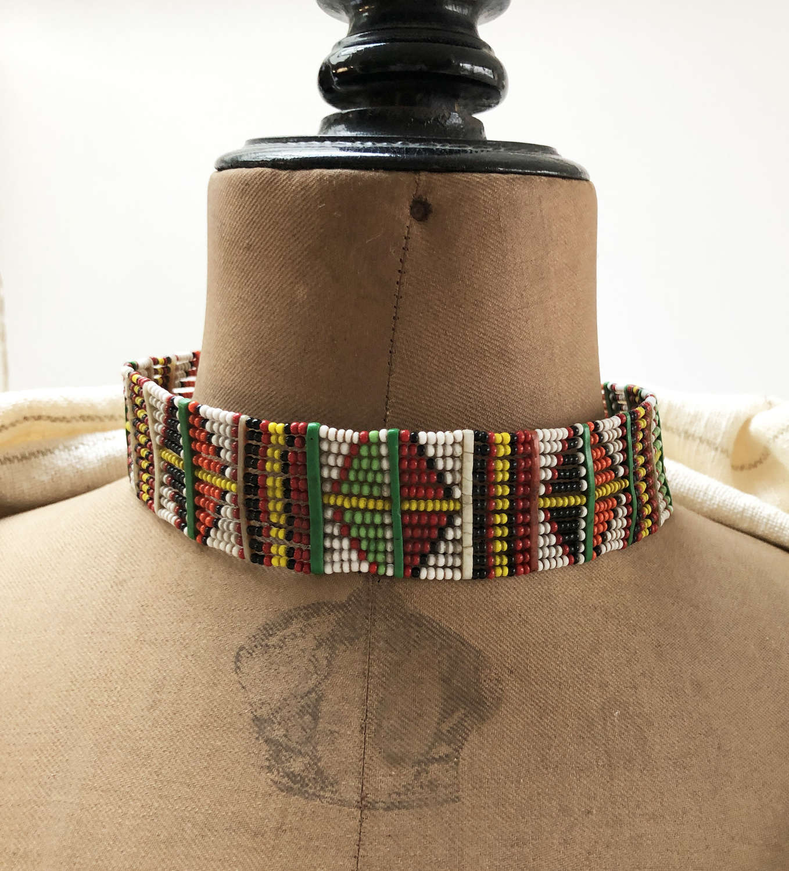 Multi Coloured Maasai Collar Band - Vintage