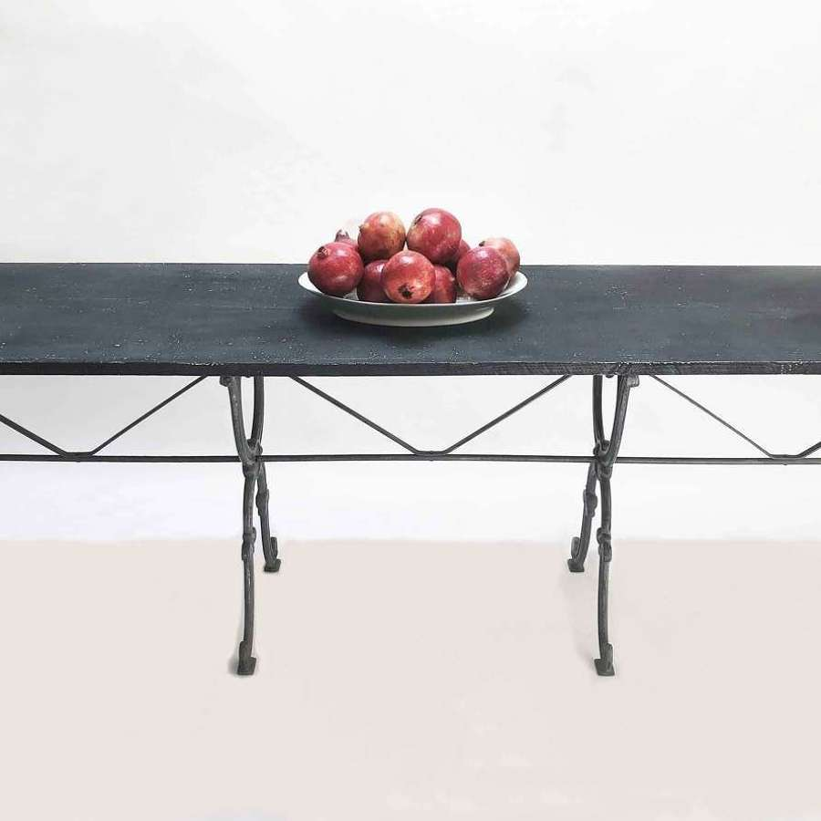 Long 19th c Cast Iron Table with wooden Top - c 1890