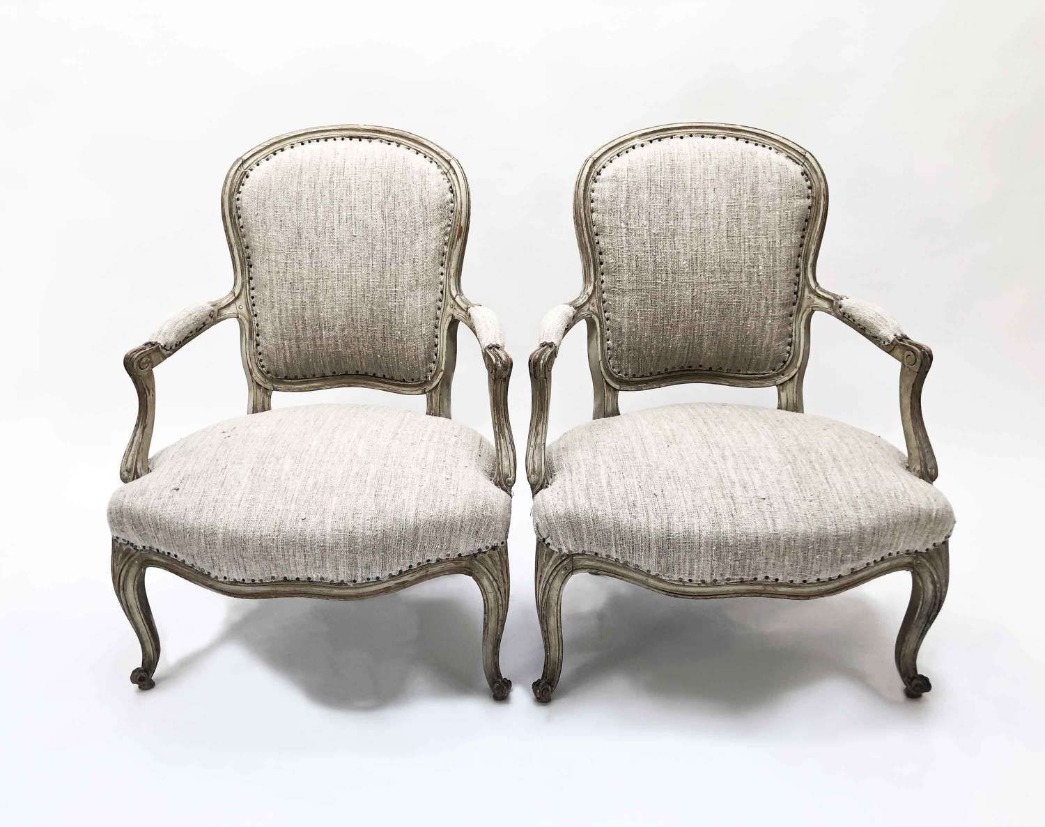 Pair of Louis XV Fauteuils with Antique Hemp covering - Circa 1750